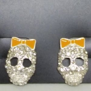 Stud Earrings Rhinestone Skeleton Face Bow 1379